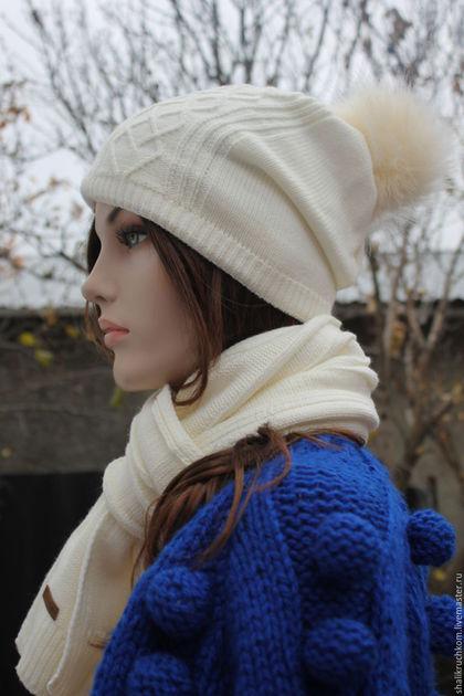 Шарфы и шарфики ручной работы. Заказать Комплект шапка и шарф с помпоном Белый. Кардиганы FDesign, шали. Ярмарка Мастеров. шапка