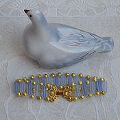 Украшения ручной работы. Ярмарка Мастеров - ручная работа Нежно-голубой нарядный браслет с ажурным замочком. Handmade.