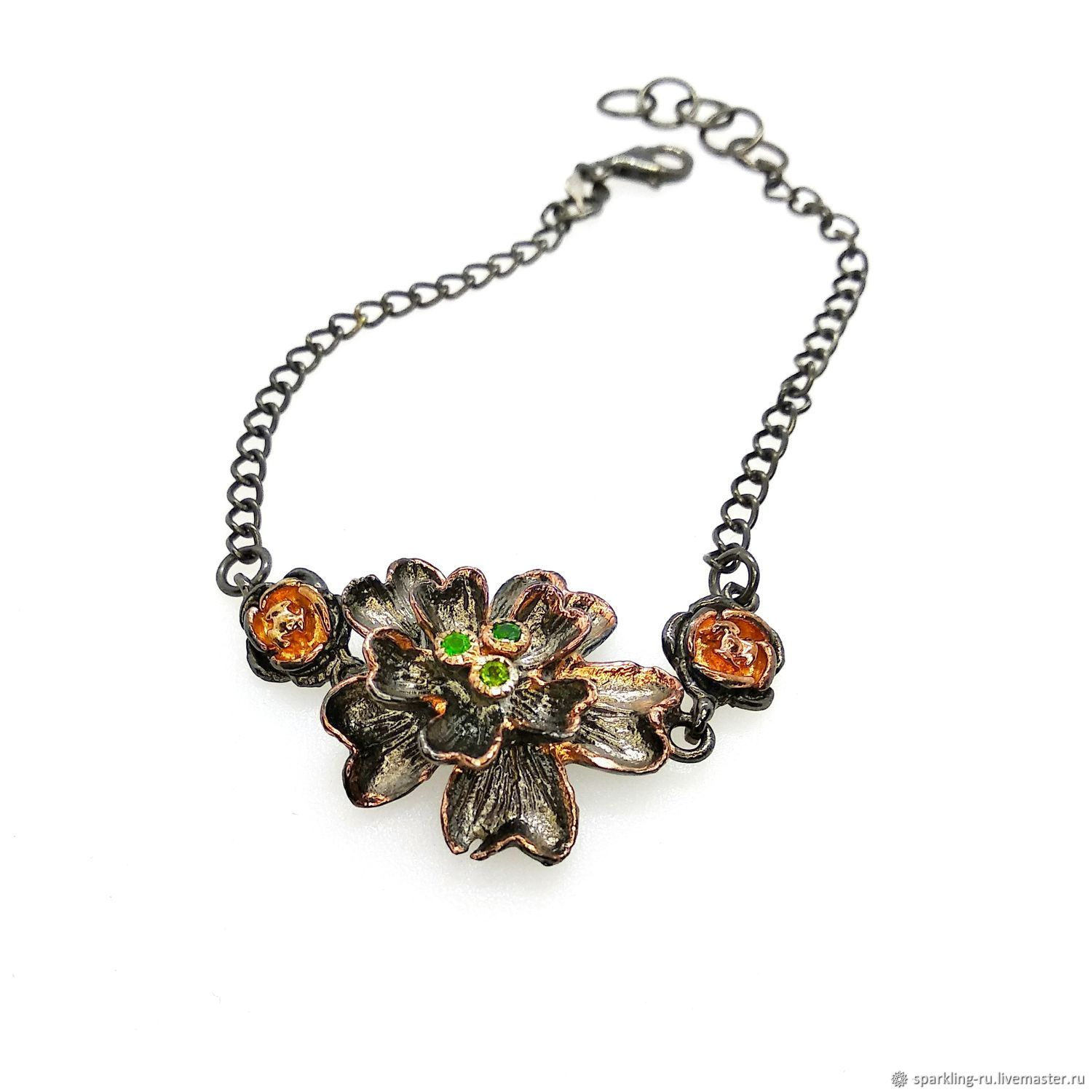 Silver bracelet with chrome diopside Flower, Chain bracelet, Moscow,  Фото №1