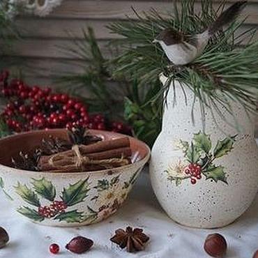 """Для дома и интерьера ручной работы. Ярмарка Мастеров - ручная работа """"Зимние букеты""""-Набор керамической посуды. Handmade."""