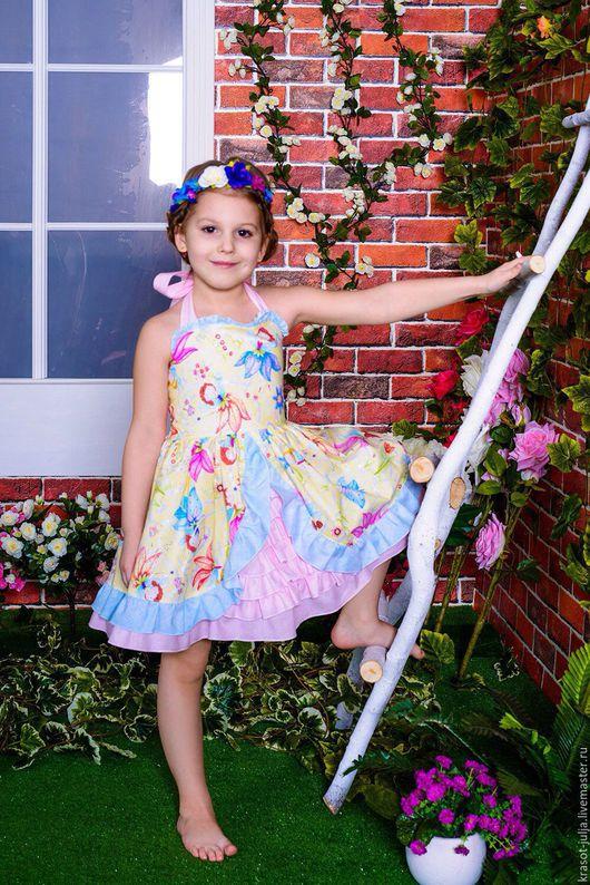 Одежда для девочек, ручной работы. Ярмарка Мастеров - ручная работа. Купить Платье сарафан для девочки Цветочные феи.. Handmade.