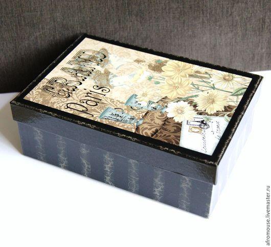 """Упаковка ручной работы. Ярмарка Мастеров - ручная работа. Купить коробка """"Париж"""" ретро, черная. Handmade. Коробка, подарочная коробка"""
