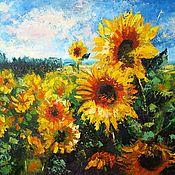 Подсолнухи картина маслом на холсте Картины цветов Летний пейзаж