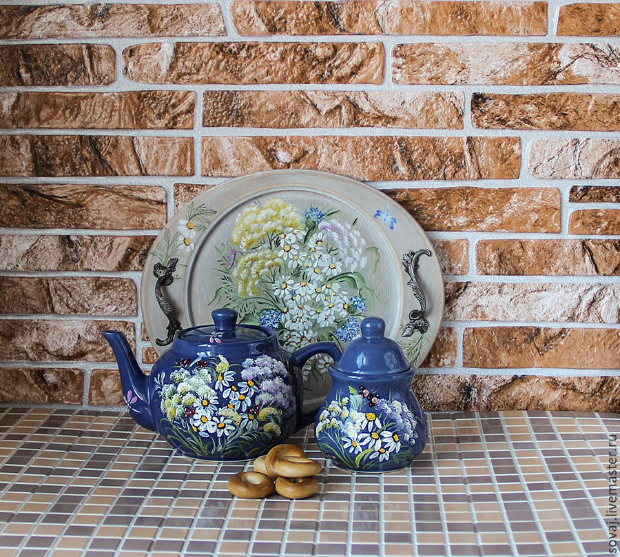 Set ceramic teapot and sugar bowl with painting 'Summer', Teapots & Kettles, ,  Фото №1