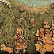 """Картины и панно ручной работы. Ярмарка Мастеров - ручная работа Барельеф """"Однажды..."""" папье-маше, дерево. Handmade."""
