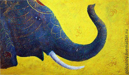 Животные ручной работы. Ярмарка Мастеров - ручная работа. Купить СЛОН. Handmade. Индийский слон, картина для интерьера, дерево