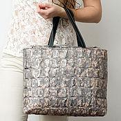 Сумки и аксессуары handmade. Livemaster - original item Tote bag, genuine leather, silver.. Handmade.