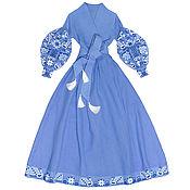 """Одежда handmade. Livemaster - original item Blue long wrap around dress """"Dream-Bird"""". Handmade."""