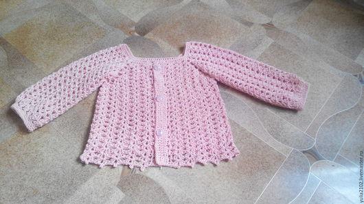 Одежда для девочек, ручной работы. Ярмарка Мастеров - ручная работа. Купить кофточка ажурная летняя крючком для девочки Персиковая Нежность. Handmade.