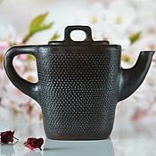 Посуда ручной работы. Ярмарка Мастеров - ручная работа Керамический заварочный черный чайник Самурай. Handmade.