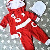 Работы для детей, handmade. Livemaster - original item Suit with Teddy bear Red. Handmade.