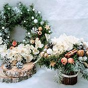 Подарки к праздникам handmade. Livemaster - original item Christmas wreath and a winter bouquet for the interior of the