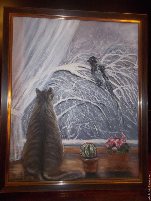 Животные ручной работы. Ярмарка Мастеров - ручная работа. Купить Картина маслом Про кота и ворону. Handmade. Картина с котом