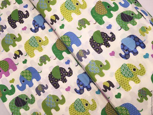 Шитье ручной работы. Ярмарка Мастеров - ручная работа. Купить Польский хлопок Слоны цветные 2 вида. Handmade. Ткань