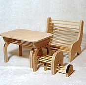 Куклы и игрушки ручной работы. Ярмарка Мастеров - ручная работа Летняя садовая мебель для кукол, скамейка для кукол, набор. Handmade.