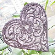 Материалы для творчества handmade. Livemaster - original item Embroidery, lace, applique patch heart FSL. Handmade.