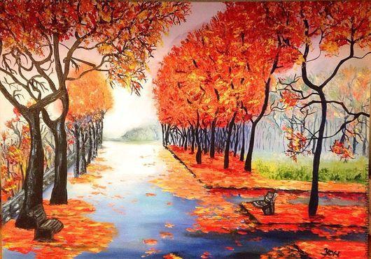 """Пейзаж ручной работы. Ярмарка Мастеров - ручная работа. Купить """"Осень золотая"""". Handmade. Осень, пейзаж, оранжевый, надежда, природа"""