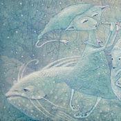 Картины и панно ручной работы. Ярмарка Мастеров - ручная работа Белая рыбка-зима...Картина-принт на холсте.. Handmade.