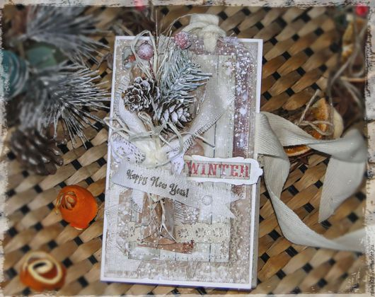 """Открытки к Новому году ручной работы. Ярмарка Мастеров - ручная работа. Купить Новогодняя (рождественская) открытка-шоколадница """"Зимний букетик"""". Handmade."""