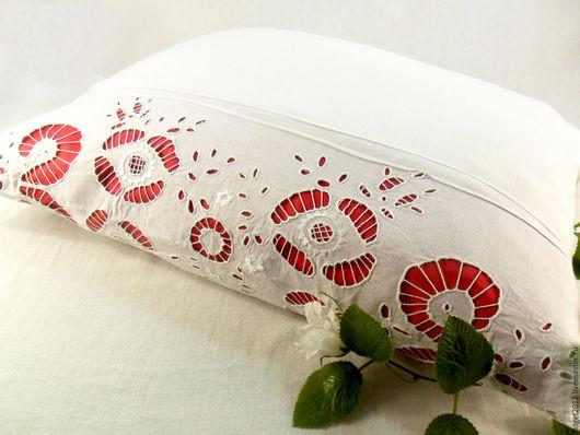 Текстиль, ковры ручной работы. Ярмарка Мастеров - ручная работа. Купить Наволочка с вышивкой ришелье винтажная 50-х годов. Handmade.