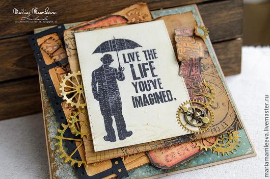 """Открытки для мужчин, ручной работы. Ярмарка Мастеров - ручная работа. Купить Мужская открытка """"Под дождем"""". Handmade. Коричневый, открытка"""