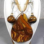 """Украшения ручной работы. Ярмарка Мастеров - ручная работа Комплект """"Золотое Руно"""" из тигрового глаза. Handmade."""