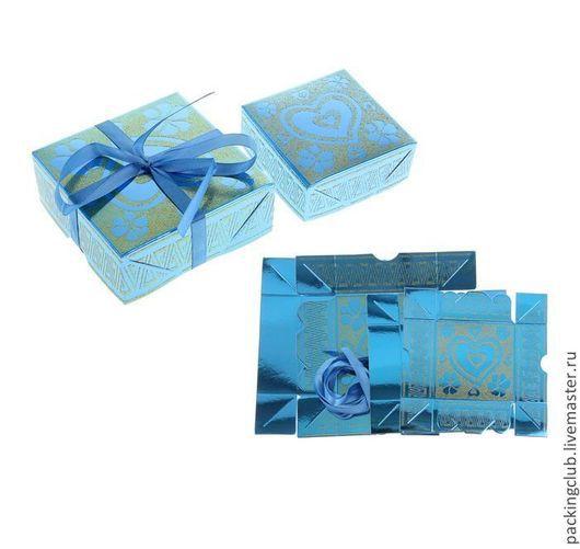 Упаковка ручной работы. Ярмарка Мастеров - ручная работа. Купить Коробочки 2 в1 голубая. Handmade. Синий, коробочка