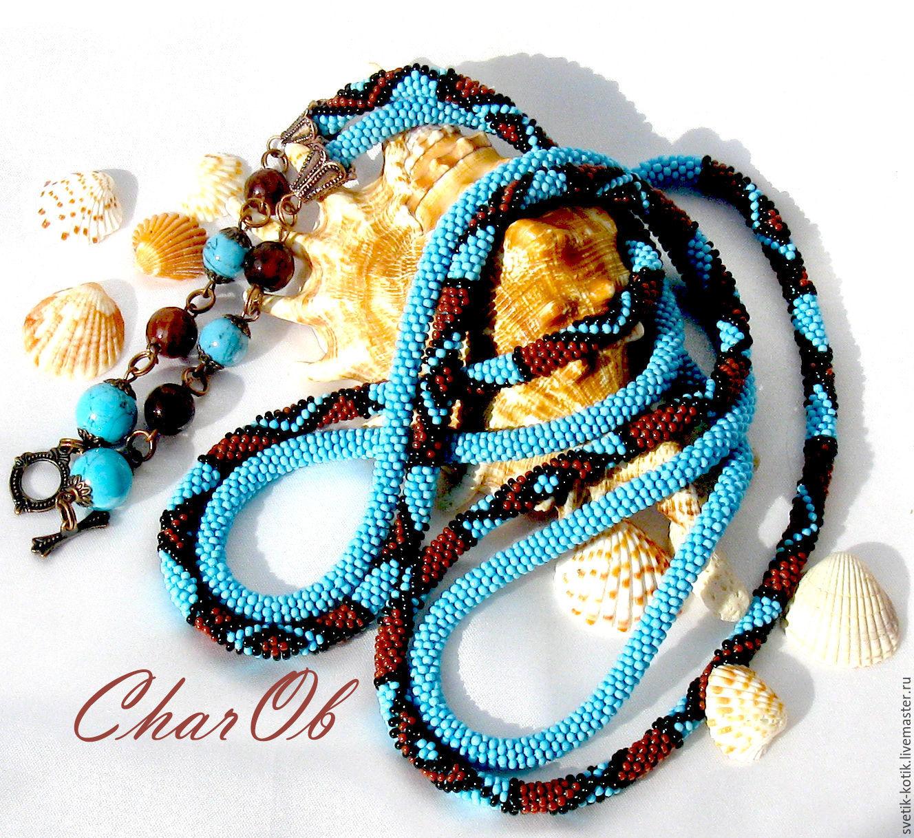 "Lariat "" Turquoise Waves "" . Length Decoration . Necklace. Tie, Lariats, Kramatorsk,  Фото №1"