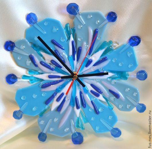 Часы для дома ручной работы. Ярмарка Мастеров - ручная работа. Купить Цветок для Мальвины Фьюзинг. Handmade. Голубой, Фьюзинг