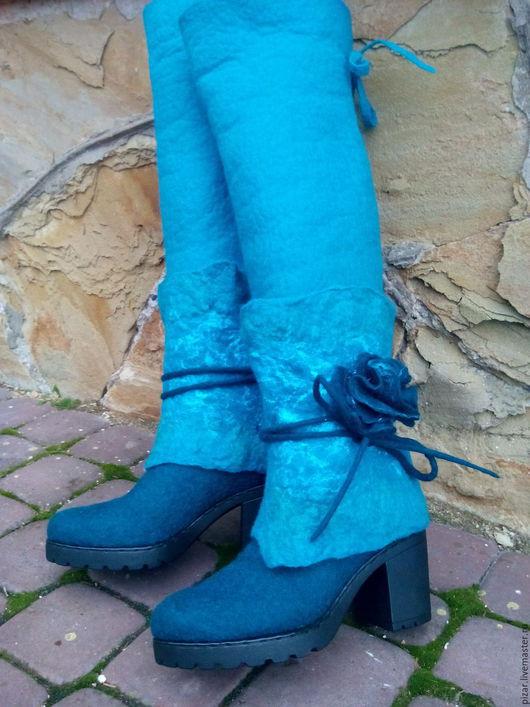 """Обувь ручной работы. Ярмарка Мастеров - ручная работа. Купить Сапоги- ботфорты""""Лазурные"""". Handmade. Тёмно-бирюзовый, валенки для улицы"""