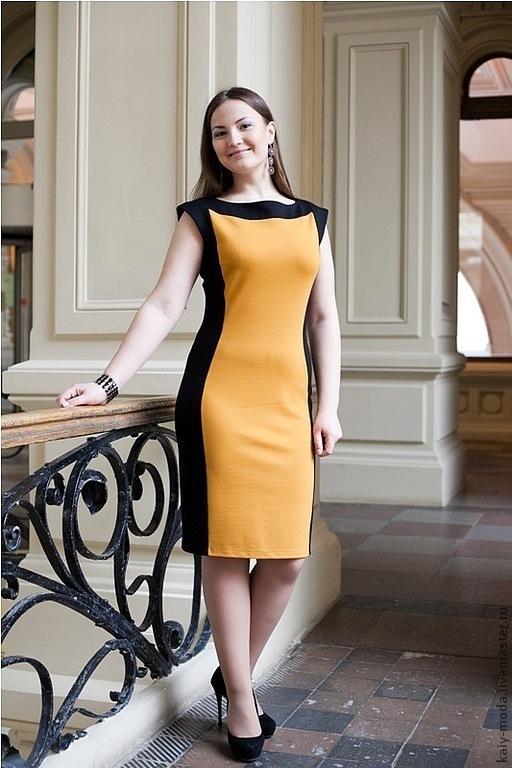 Платья ручной работы. Ярмарка Мастеров - ручная работа. Купить Платье двухцветное - черный, желтый. Handmade. Оранжевый, двухцветное платье