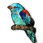 Брошь-булавка ручной работы. Ярмарка Мастеров - ручная работа Брошь в стиле бохо Птица Сизоворонка. Handmade.