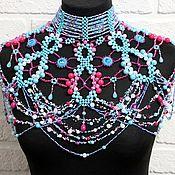 Украшения handmade. Livemaster - original item Copy of Blue large shoulder necklace Big navy beaded bib. Handmade.