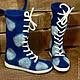 Обувь ручной работы. Ярмарка Мастеров - ручная работа. Купить Валяные ботинки Dots in Blue. Handmade. Тёмно-синий