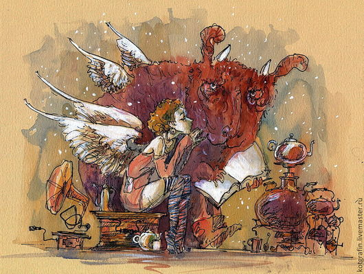 """Символизм ручной работы. Ярмарка Мастеров - ручная работа. Купить """"Сказка на ночь"""". Handmade. Ангел, открытка на день рождения, детский"""
