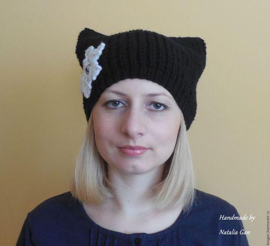 Шарфы и шарфики ручной работы. Ярмарка Мастеров - ручная работа. Купить Шапка кошка с брошью снежинка. Handmade. Черный