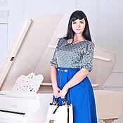Одежда ручной работы. Ярмарка Мастеров - ручная работа Платье длины миди. р-р 48+. Handmade.