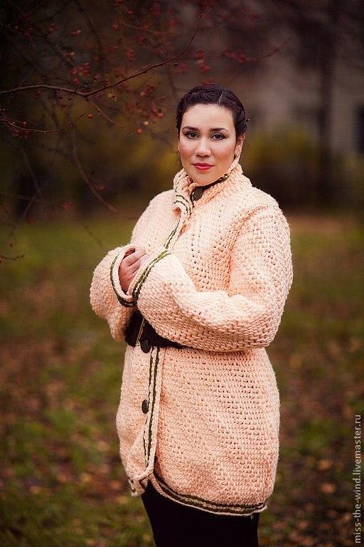 Верхняя одежда ручной работы. Ярмарка Мастеров - ручная работа. Купить пальто осеннее. Handmade. Бежевый, пальто, пальто вязанное