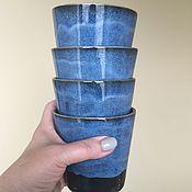 Посуда ручной работы. Ярмарка Мастеров - ручная работа Стаканы синие, космические. Набор 4 шт.. Handmade.