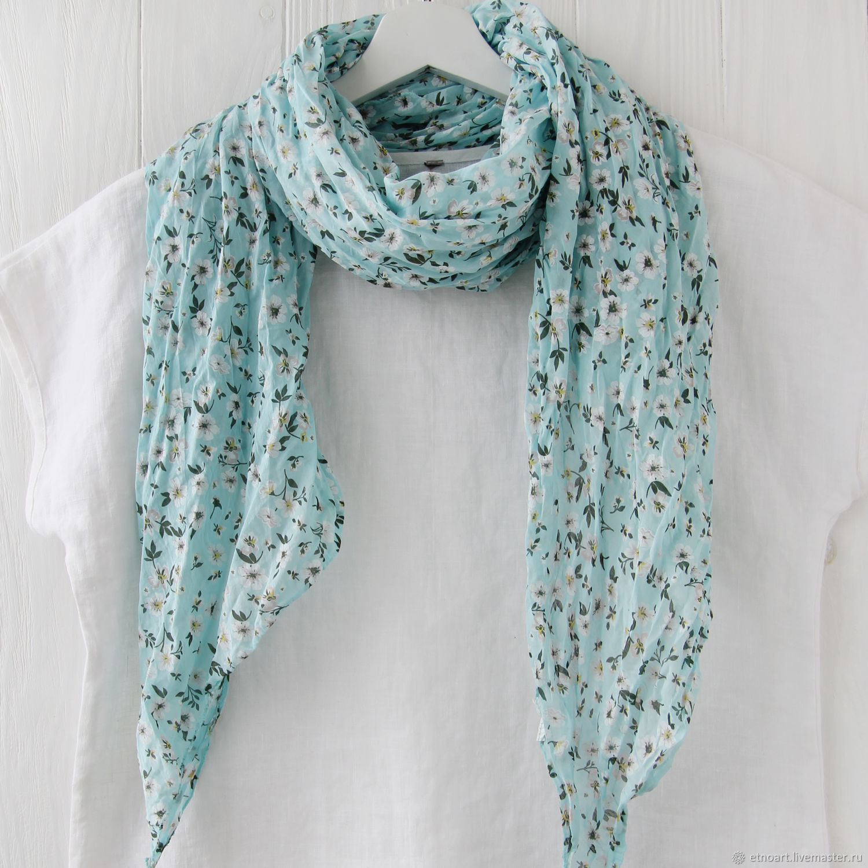 Хлопковый шарф-платок в мелкий цветочек, Платки, Томск,  Фото №1