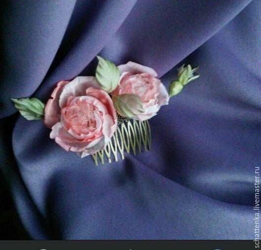 Цветы ручной работы. Ярмарка Мастеров - ручная работа. Купить Гребень с пепельными розами. Handmade. Кремовый, гребень свадебный