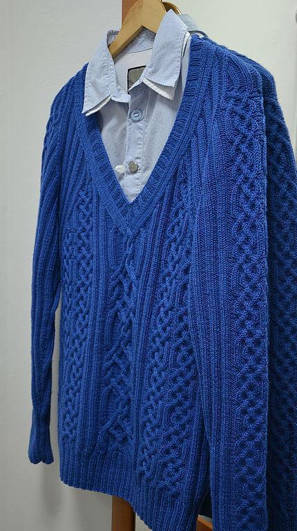 """Для мужчин, ручной работы. Ярмарка Мастеров - ручная работа. Купить Джемпер мужской теплый из шерсти """" Синие узоры"""". Handmade."""
