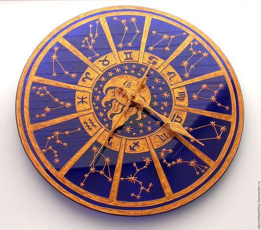 """Часы для дома ручной работы. Ярмарка Мастеров - ручная работа. Купить Часы настенные """"Гороскоп-2"""". Handmade. Тёмно-синий"""