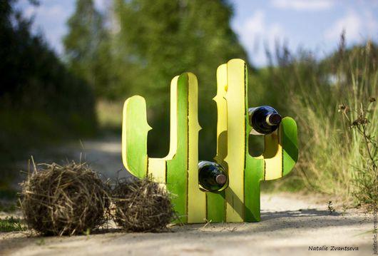Персональные подарки ручной работы. Ярмарка Мастеров - ручная работа. Купить Подставка для вина Кактус. Handmade. Ярко-зелёный, желтый