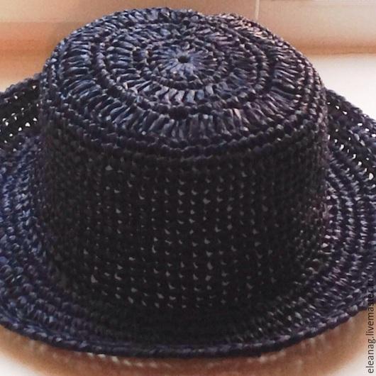 Шляпы ручной работы. Ярмарка Мастеров - ручная работа. Купить Шляпка летняя Полночь. Handmade. Тёмно-синий, шляпка