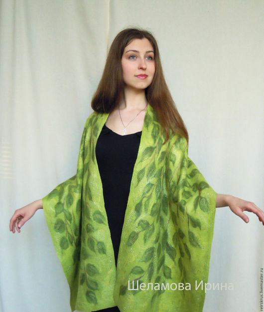 """Шали, палантины ручной работы. Ярмарка Мастеров - ручная работа. Купить палантин """"в листве"""". Handmade. Зеленый, подарок женщине"""