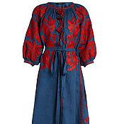 Вышитое льняное платье Вышиванка Льняное Бохо платье