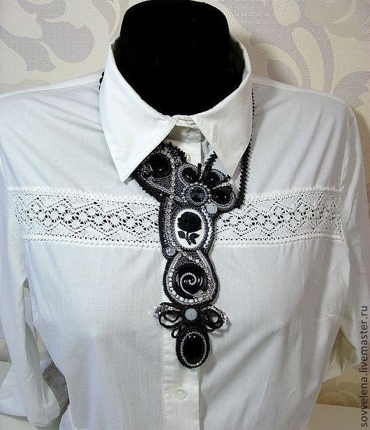 Колье, бусы ручной работы. Ярмарка Мастеров - ручная работа. Купить Колье - галстук в винтажном стиле. Handmade. Чёрно-белый