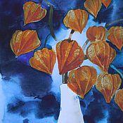 """Картины и панно ручной работы. Ярмарка Мастеров - ручная работа акварель """" Физалисы"""". Handmade."""