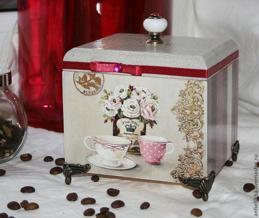 Кухня ручной работы. Ярмарка Мастеров - ручная работа. Купить Коробочка для чая. Handmade. Бордовый, чайная коробка